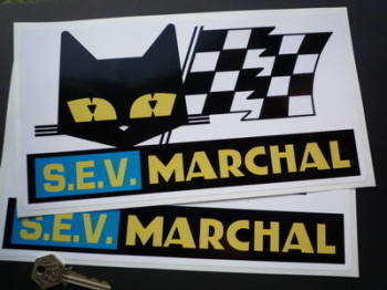 "SEV Marchal Cat/Flag White Background Oblong Stickers. 11"" Pair."