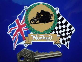 "NorBsa Flag & Scroll Sticker. 3.75""."