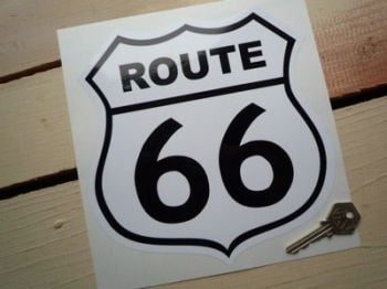 "Route 66 Black & White Sticker. 7.5""."