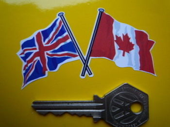 "Crossed Canadian & Union Jack Flag Sticker. 3""."