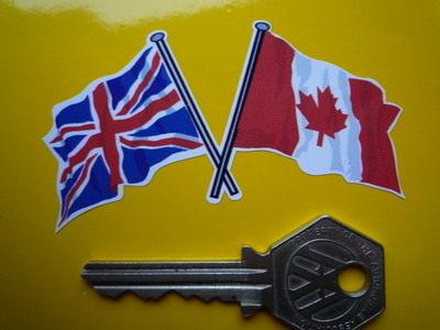 "Crossed Canadian & Union Jack Flag Sticker. 3""."