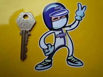 "Chevrolet Driver 2 Fingered Salute Sticker. 3.5""."
