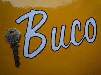 "Buco Helmets Black & White Script Sticker. 5.5""."