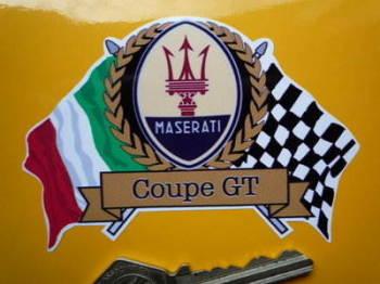 "Maserati Flag & Scroll Various Models Sticker. 4""."