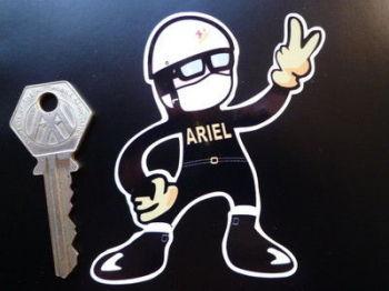 "Ariel Rider Pudding Basin 2 Fingered Salute Sticker. 3.5""."