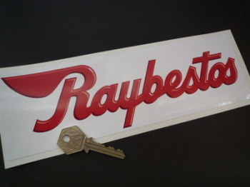 "Raybestos Brakes Red & White Oblong Sticker. 10""."