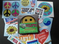 Hippy 1960's Style Labels Set of 20 Stickers in Gift Tin.
