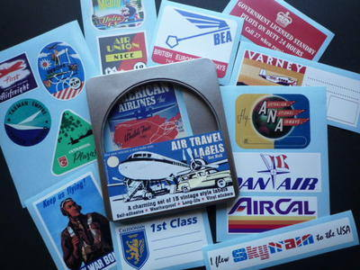 Vintage Style Air Travel Labels Set 6 of 15 Stickers in Gift Tin.