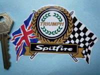 "Triumph Garland Spitfire Flag & Scroll Sticker. 3.75""."
