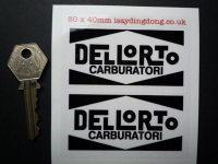 Dellorto Carburatori Black & Clear Stickers. 80mm Pair.