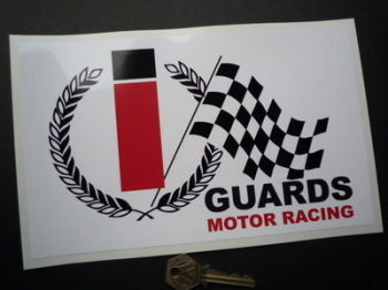 "Guards Motor Racing Cigarettes Sponsors Oblong Sticker. 9.5""."