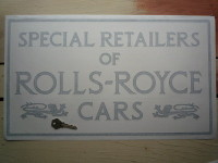 Rolls Royce Cars Special Retailers. Dealers Style Sticker. 20