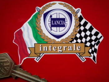 "Lancia Integrale Flag & Scroll Style Sticker. 4""."
