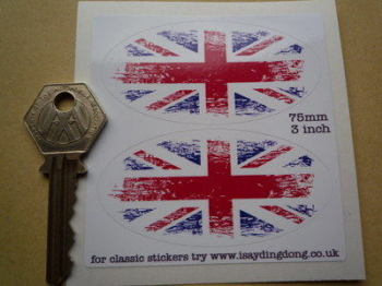 "Union Jack Coloured Fade To White Oval Stickers. 3"" Pair."