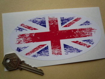 "Union Jack Coloured Fade To White Oval Sticker. 4"" or 6""."