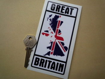 "Great Britain Union Jack Map Sticker. 2.5"" x 5.5""."