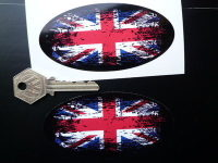 Union Jack Coloured Fade To Black Oval Sticker. 4