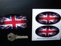 Union Jack Coloured Fade To Black Oval Stickers. 3