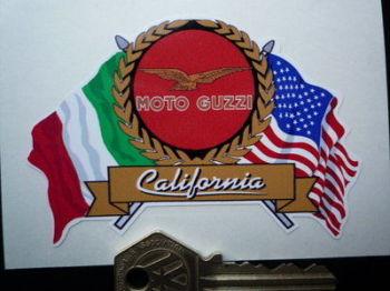 "Moto Guzzi California Flag & Scroll Style Sticker. 4""."