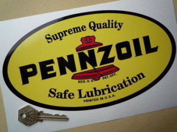 "Pennzoil 'Supreme Quality Safe Lubrication' Sticker. 9""."