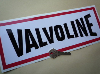 "Valvoline Red, Black & White Oblong Sticker. 12""."