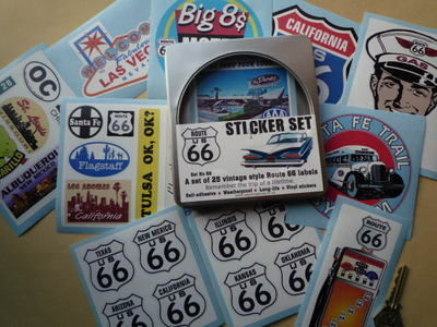 Route 66 Set of 25 Stickers in Gift Tin.