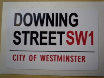 "Downing Street SW1. London Street Sign Style Sticker. 3"", 6"" or 12""."