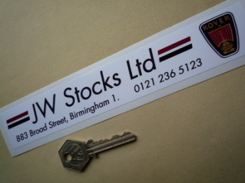 "Rover Dealers Sticker. JW Stocks Ltd, Birmingham. 8""."