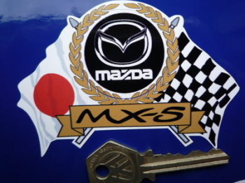 "Mazda MX-5 Flag & Scroll Sticker. 4""."