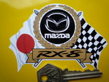 "Mazda RX-8 Flag & Scroll Sticker. 4""."