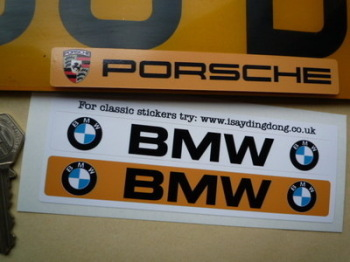 """BMW Number Plate Dealer Logo Cover Stickers. 5.5"""" Pair."""