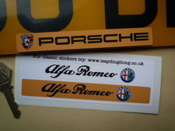 "Alfa Romeo Number Plate Dealer Logo Cover Stickers. 5.5"" Pair."