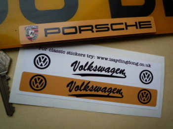 Volkswagen VW Black Logo Number Plate Dealer Cover Stickers. 140mm or 170mm Pair.