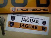 "Jaguar Number Plate Dealer Logo Cover Stickers. 5.5"" Pair."