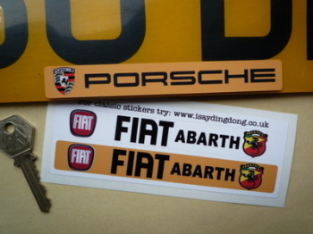 "Fiat Abarth Number Plate Dealer Logo Cover Stickers. 5.5"" Pair."