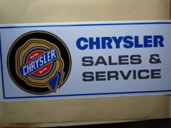 "Chrysler Sales & Service Workshop Sticker. 23.5""."