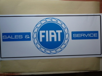 "Fiat Garland Sales & Service Workshop Sticker. 23.5""."