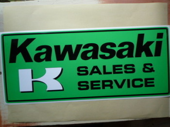 "Kawasaki Sales & Service Workshop Sticker. 23.5""."