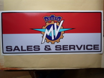 "MV Agusta Sales & Service Workshop Sticker. 23.5""."