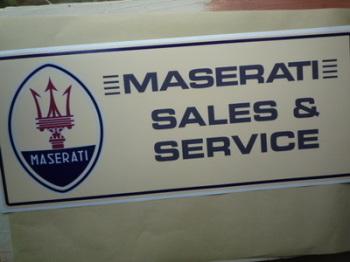 "Maserati Sales & Service Workshop Sticker. 23.5""."