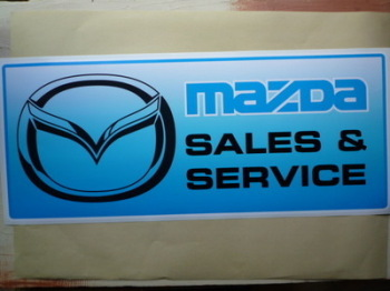 "Mazda Sales & Service Workshop Sticker. 23.5""."