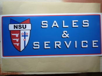 "NSU Sales & Service Workshop Sticker. 23.5""."