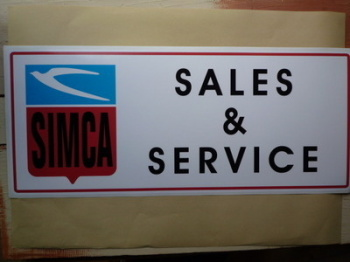 "Simca Sales & Service Workshop Sticker. 23.5""."