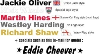 Racing Driver Name PERSONALISED Stickers. Arial Font. Various Designs.