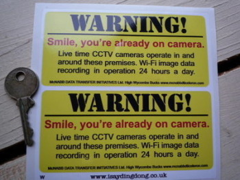 """Warning! 'Smile, You're already on camera' CCTV Stickers. 4.75"""" Pair."""