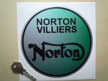 "Norton Villiers Green Fog Round Sticker. 6""."