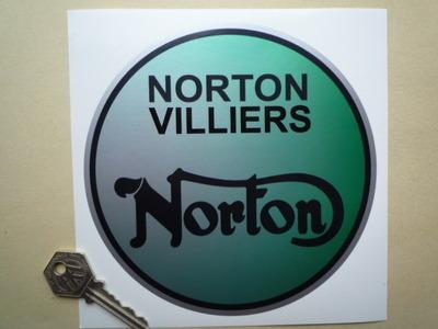 """Norton Villiers Green Fog Round Sticker. 6""""."""