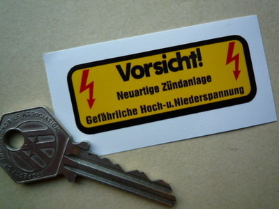 Porsche Vorsicht! Electrical Coil Sticker. 2.5