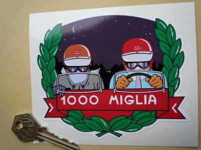 """Mille Miglia 1000 Driver & Passenger Garland Sticker. 5""""."""