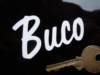 "Buco Helmets White Script Sticker. 2.5""."